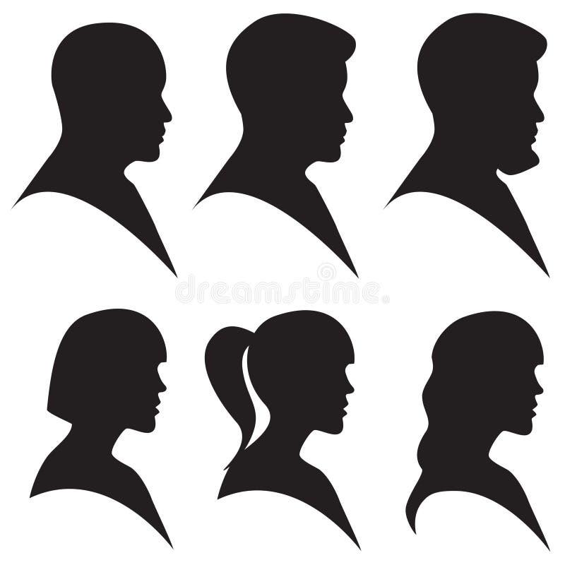 男人和妇女顶头剪影  皇族释放例证
