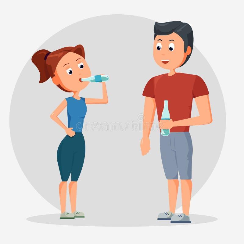 男人和妇女饮用水,健康的,例证概念人饮用水 向量例证