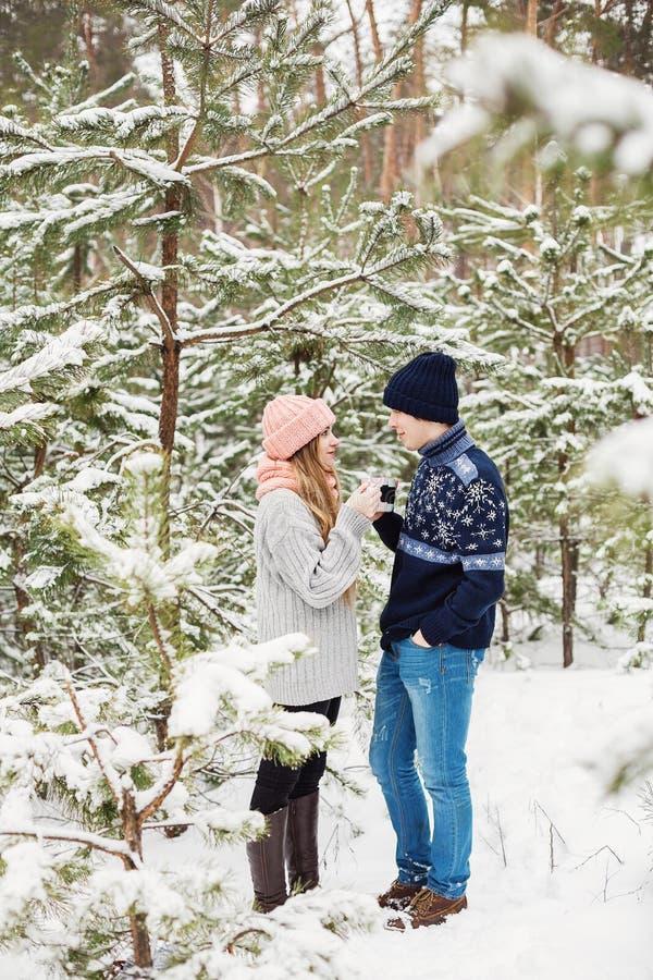 男人和妇女饮用的茶在多雪的森林里 免版税库存图片