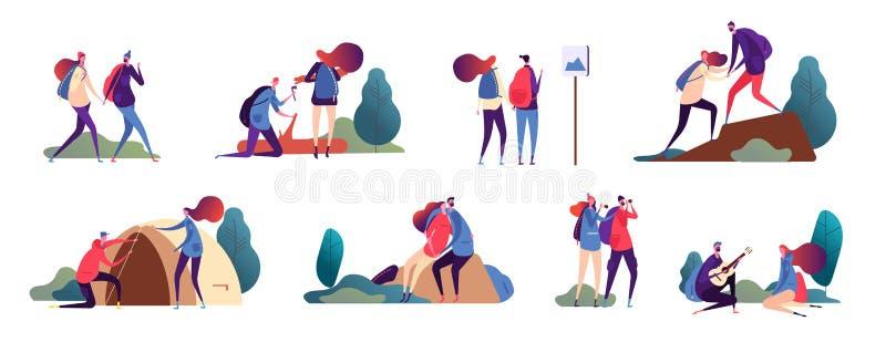 结合远足 男人和妇女,浪漫人远足 在旅行室外冒险的愉快的夫妇和野营本质上 向量例证