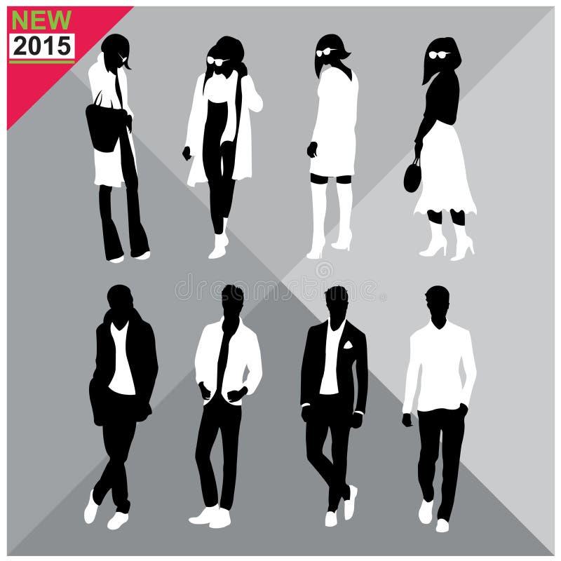 男人和妇女,秋天,秋天,夏天服装,成套装备,完全编辑可能,集合,汇集黑剪影  向量例证