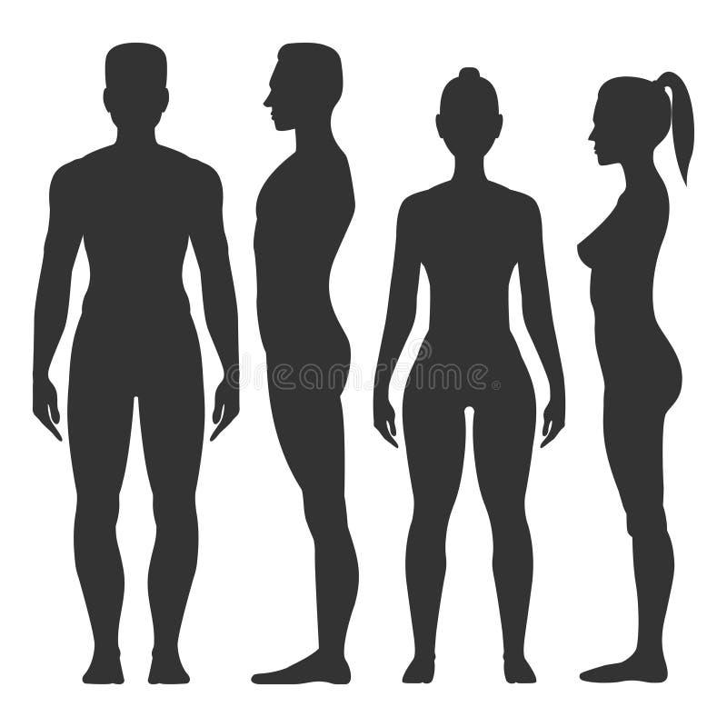 男人和妇女黑剪影 库存例证