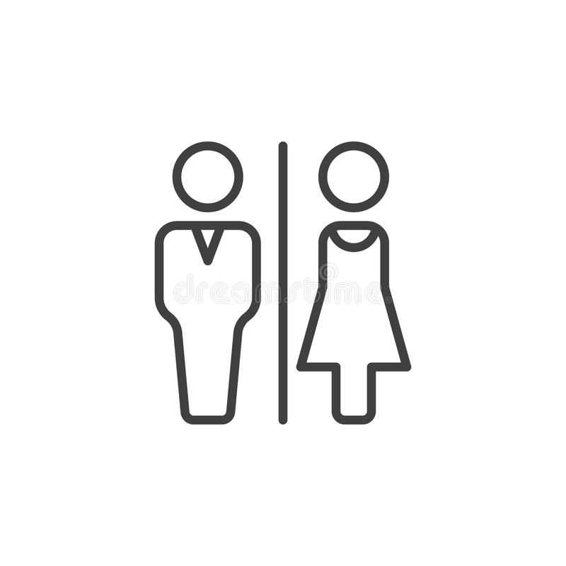 男人和妇女洗手间排行象,概述传染媒介标志,在白色隔绝的线性图表 皇族释放例证