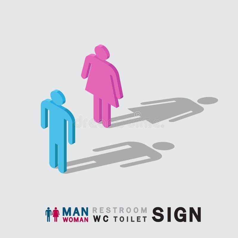 男人和妇女洗手间wc休息室签署等量 库存例证