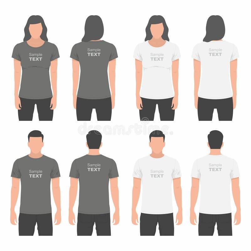 男人和妇女T恤杉设计模板 皇族释放例证