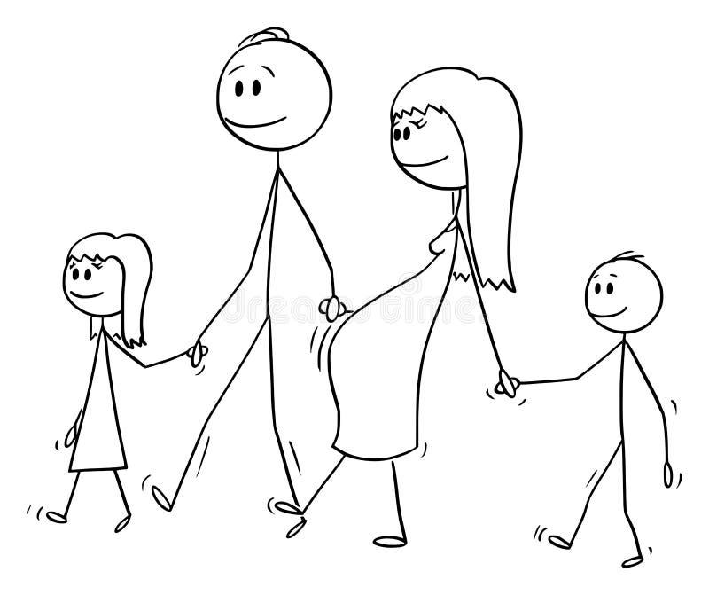 男人和孕妇家庭传染媒介动画片走与两个孩子一起的  皇族释放例证