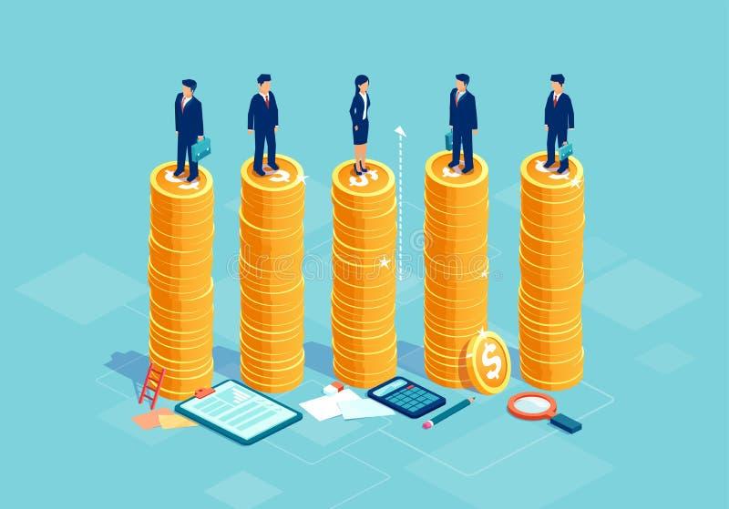 男女平等和机会均等在公司业务概念 向量例证