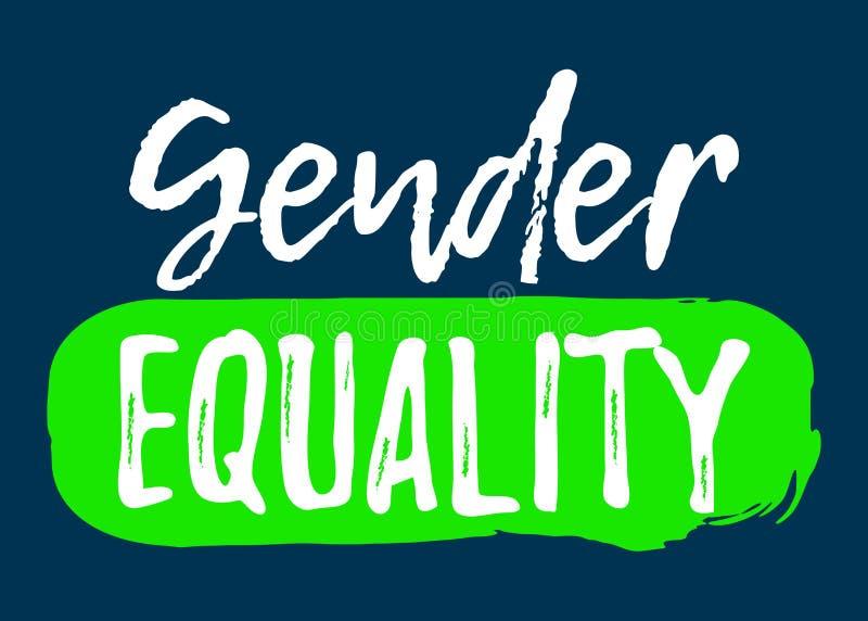 男女平等标签 与刷子的字体 平等权利 皇族释放例证