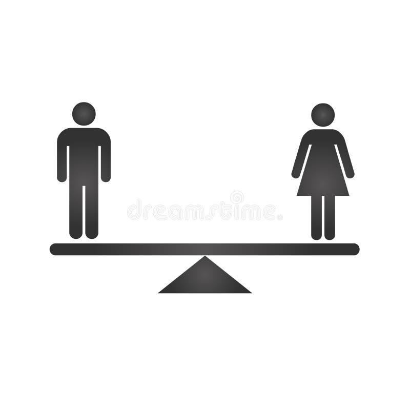 男女平等概念象 在等级的黑性别象 平等在白色backround隔绝的传染媒介例证 皇族释放例证