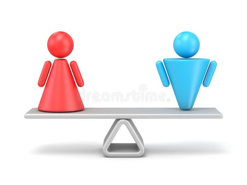男女平等的抽象概念 3d 向量例证