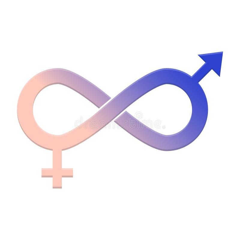 男女平等象 平等、合作、连接、关系人和妇女的标志 库存例证