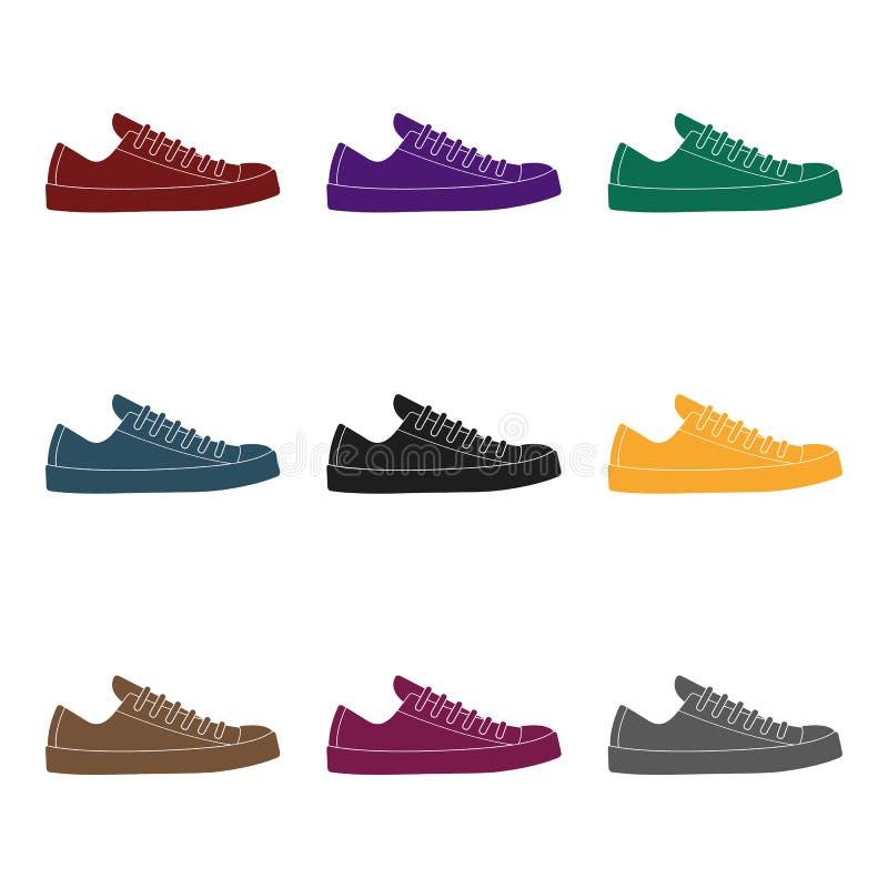 男女皆宜白色的运动鞋系带  鞋子为体育和日常生活 不同的鞋子选拔在黑样式传染媒介标志的象 皇族释放例证