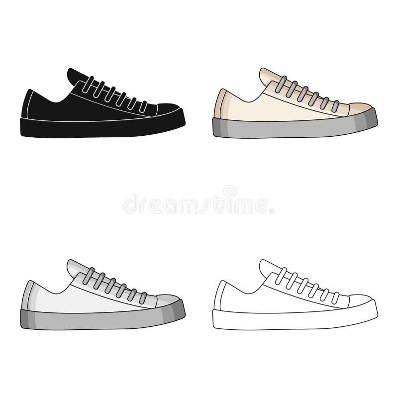 男女皆宜白色的运动鞋系带  鞋子为体育和日常生活 不同的鞋子选拔在动画片样式传染媒介的象 库存例证