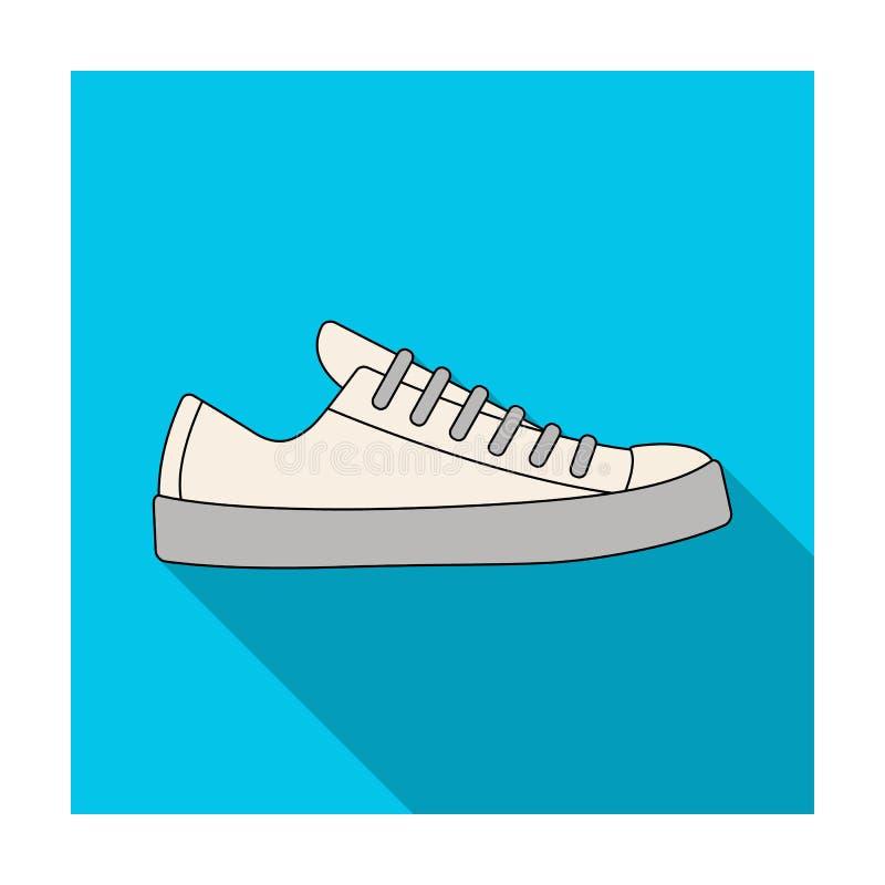 男女皆宜白色的运动鞋系带  鞋子为体育和日常生活 不同的鞋子选拔在平的样式传染媒介标志的象 向量例证