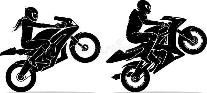 男女骑行极限运动摩托车 库存例证