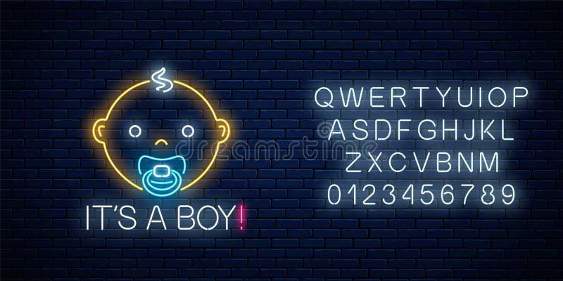 男婴与字母表的诞生庆祝的发光的霓虹灯广告 Newbaby生日在霓虹样式的祝贺牌 皇族释放例证