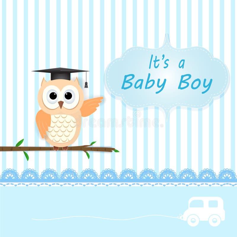 男婴与猫头鹰的阵雨卡片在蓝色 愉快的生日贺卡 皇族释放例证