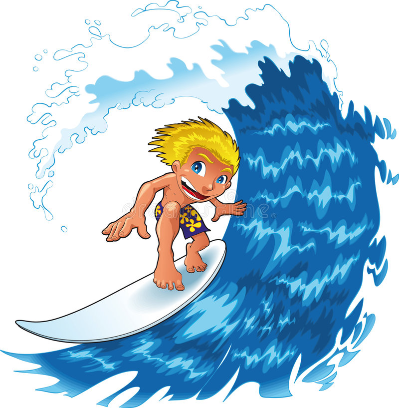 男婴冲浪 向量例证