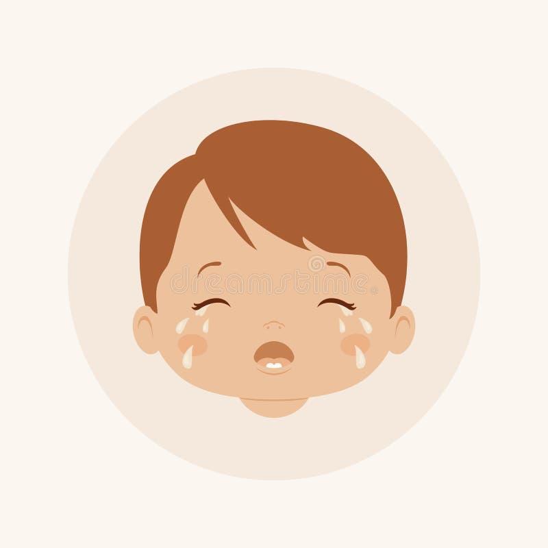 男婴哭泣 向量例证