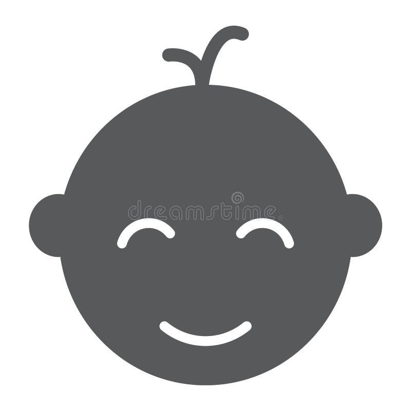 男婴坚实象、婴孩和孩子,面孔标志,向量图形,在白色背景的一个坚实样式 库存例证