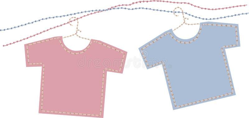 男婴女孩衬衣t 向量例证