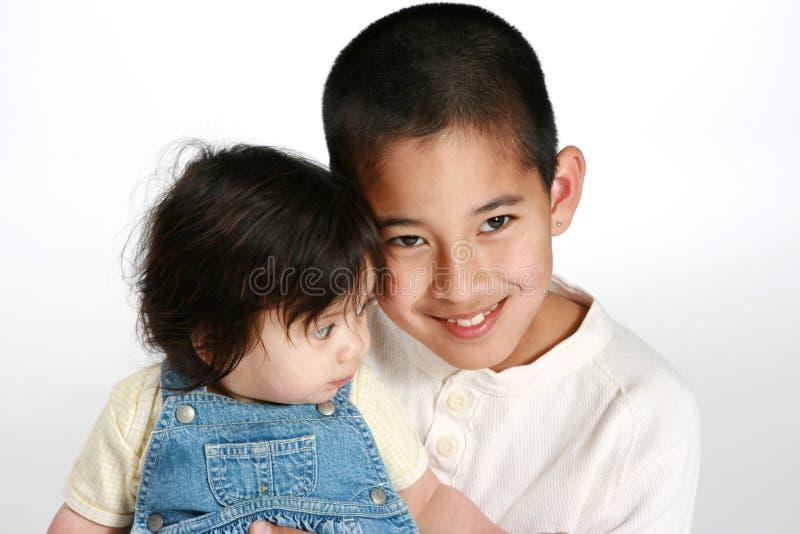 男婴姐妹年轻人 库存照片