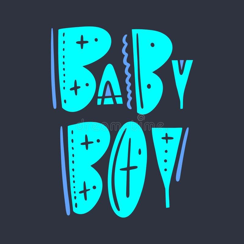 男婴标志手拉的传染媒介字法 隔绝在黑暗的背景 斯堪的纳维亚印刷术样式 库存例证