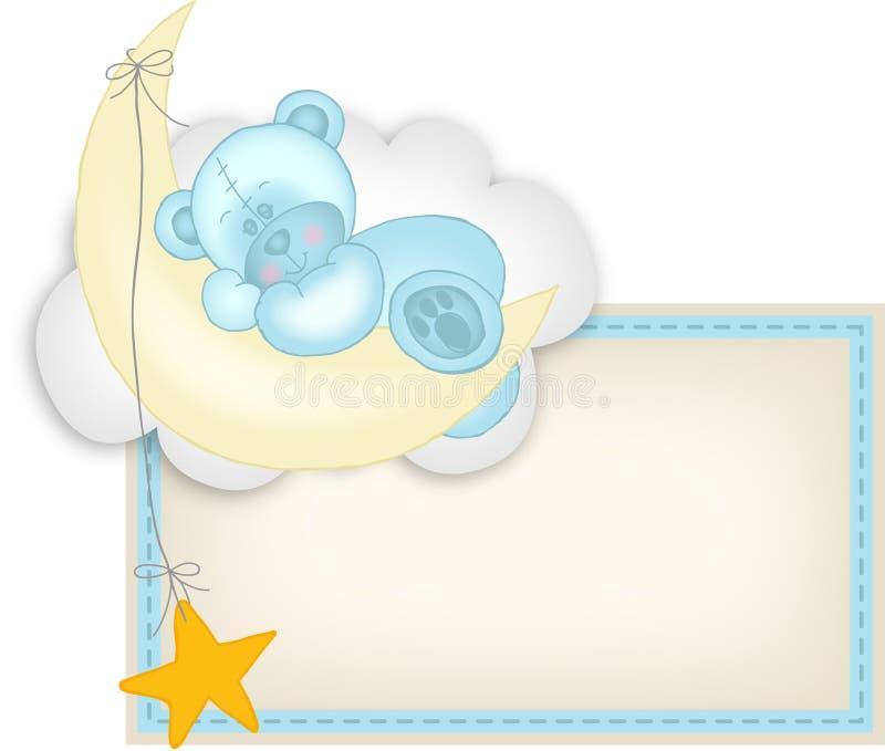 男婴标签休眠在月亮的玩具熊 向量例证