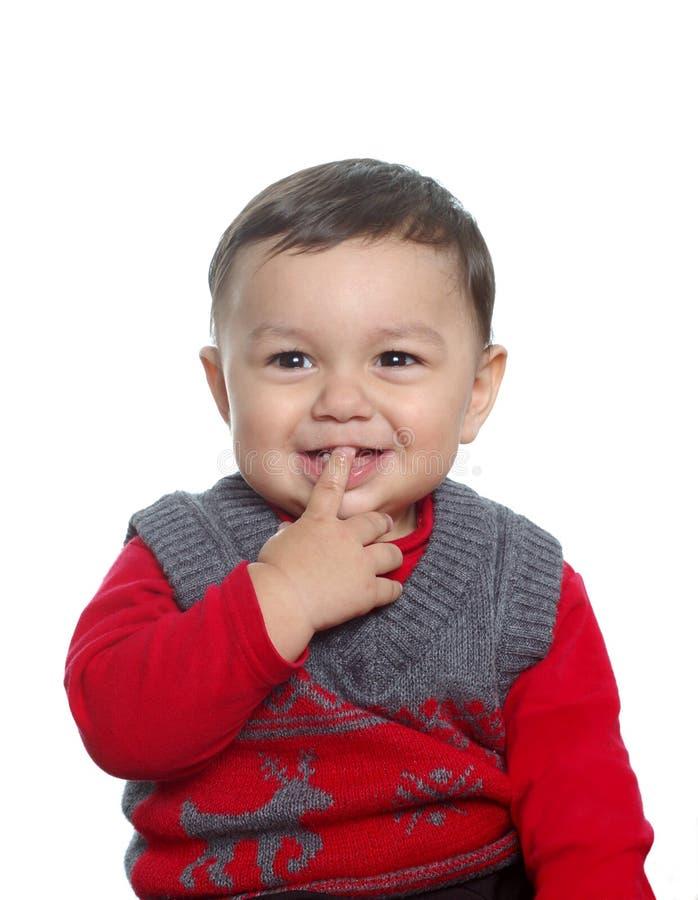 男婴毛线衣佩带 库存照片