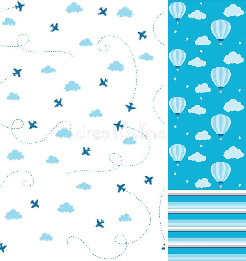 男婴气球和飞机无缝的传染媒介样式协调收藏 向量例证