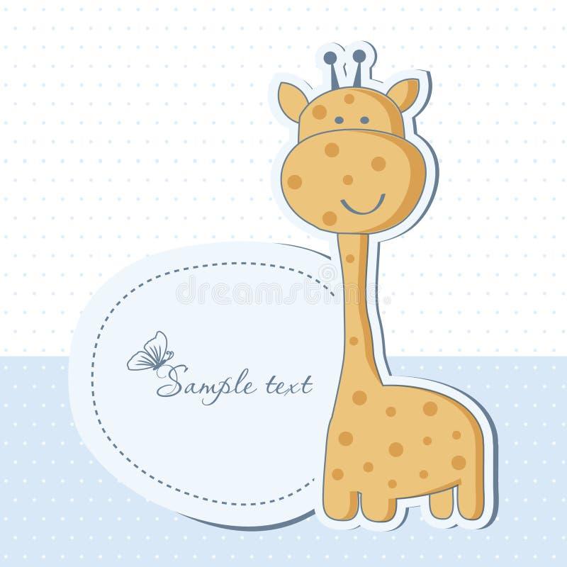 男婴看板卡长颈鹿阵雨 库存例证