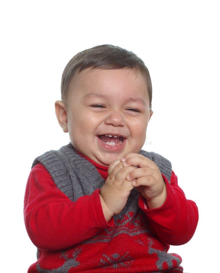 男婴红色毛线衣 免版税库存照片