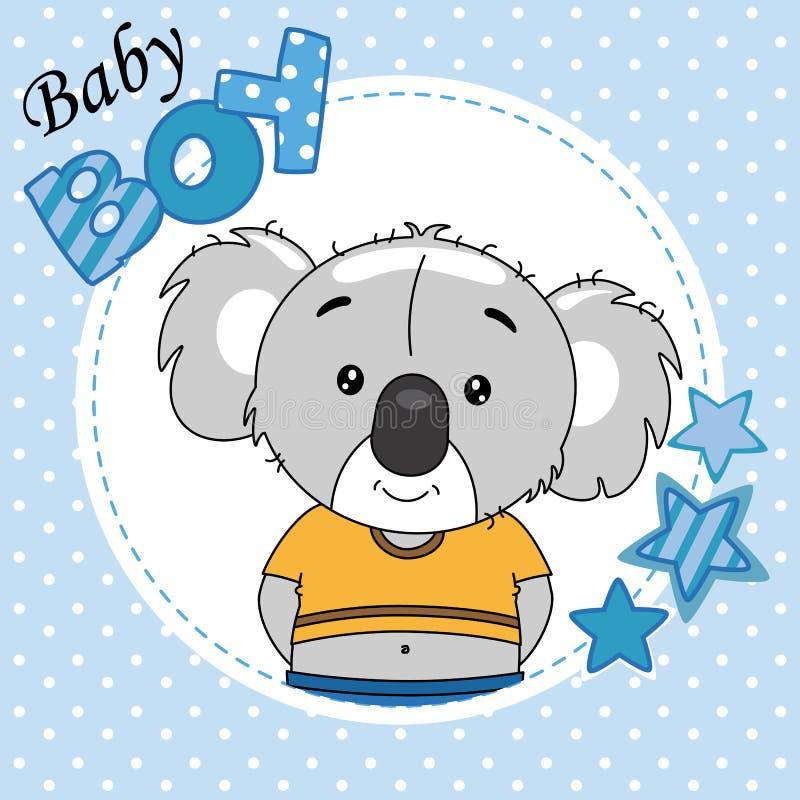 男婴阵雨卡片 逗人喜爱的考拉 库存例证