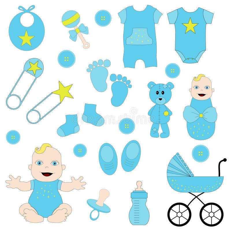 男婴,蓝色婴儿clipart,男孩clipart, 向量例证