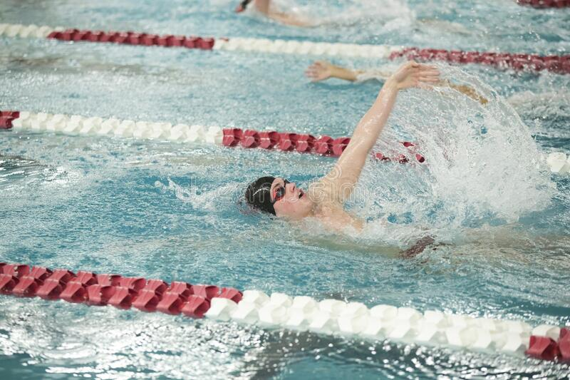 男子游泳运动员在比赛中仰泳 库存图片