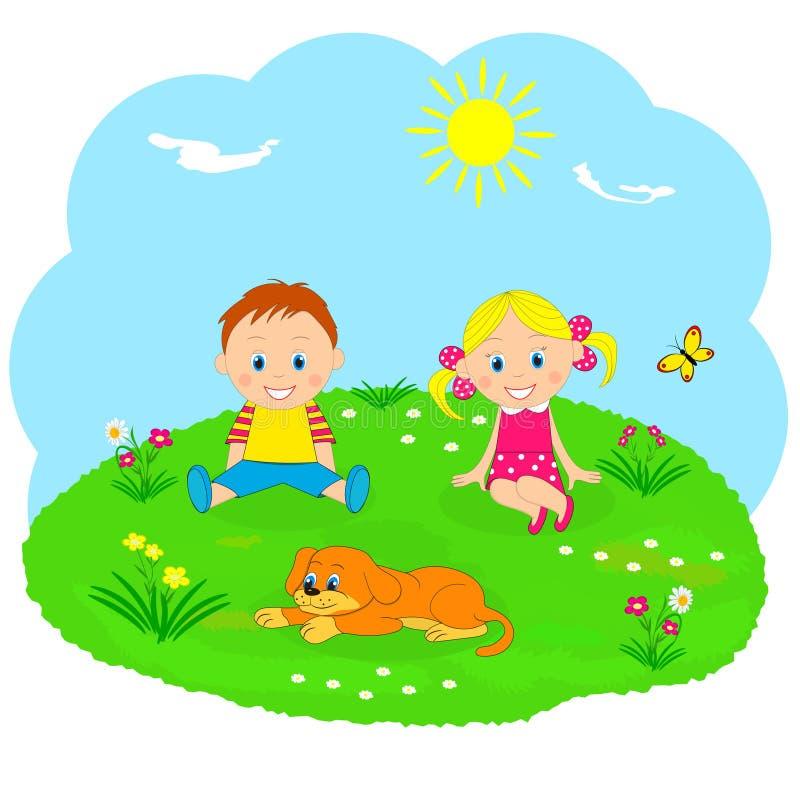 男孩、女孩和狗在一绿色medow 向量例证
