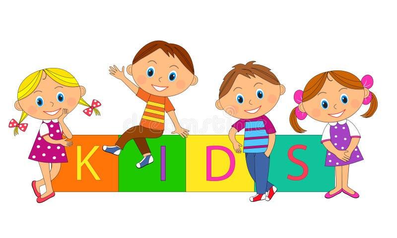 男孩、女孩和立方体与信件 向量例证