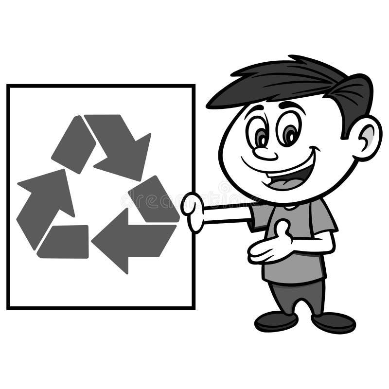 男孩与回收标志例证 库存例证
