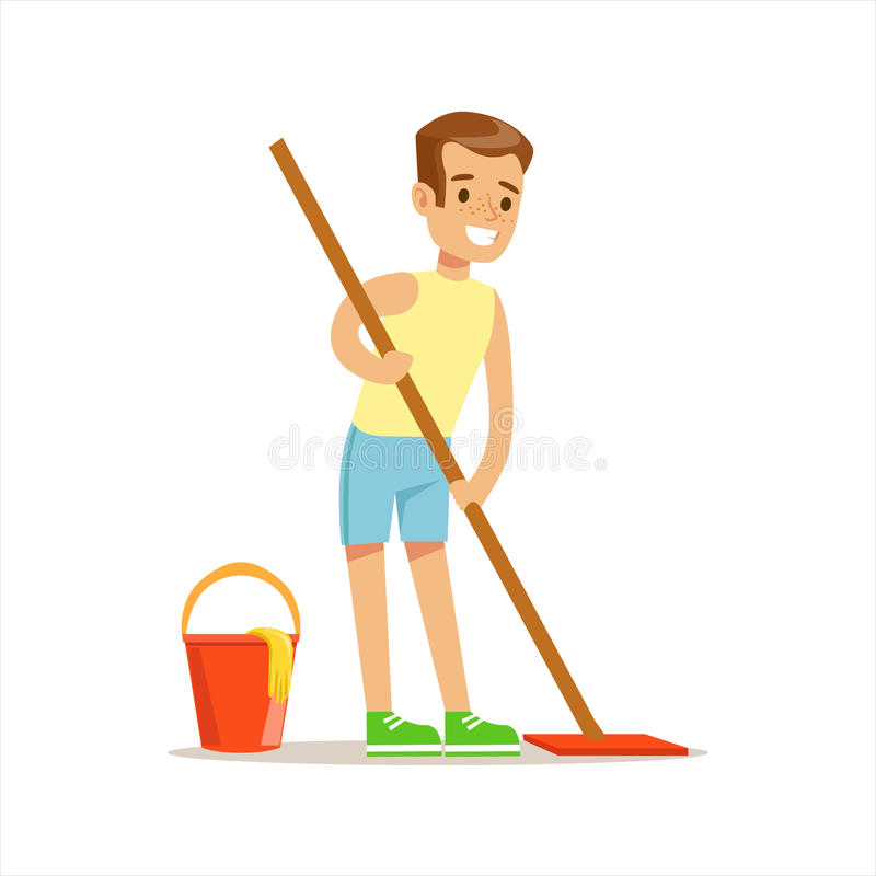 男孩与帮助与家务和做议院清洁的拖把微笑的动画片孩子字符的清洁地板 库存例证