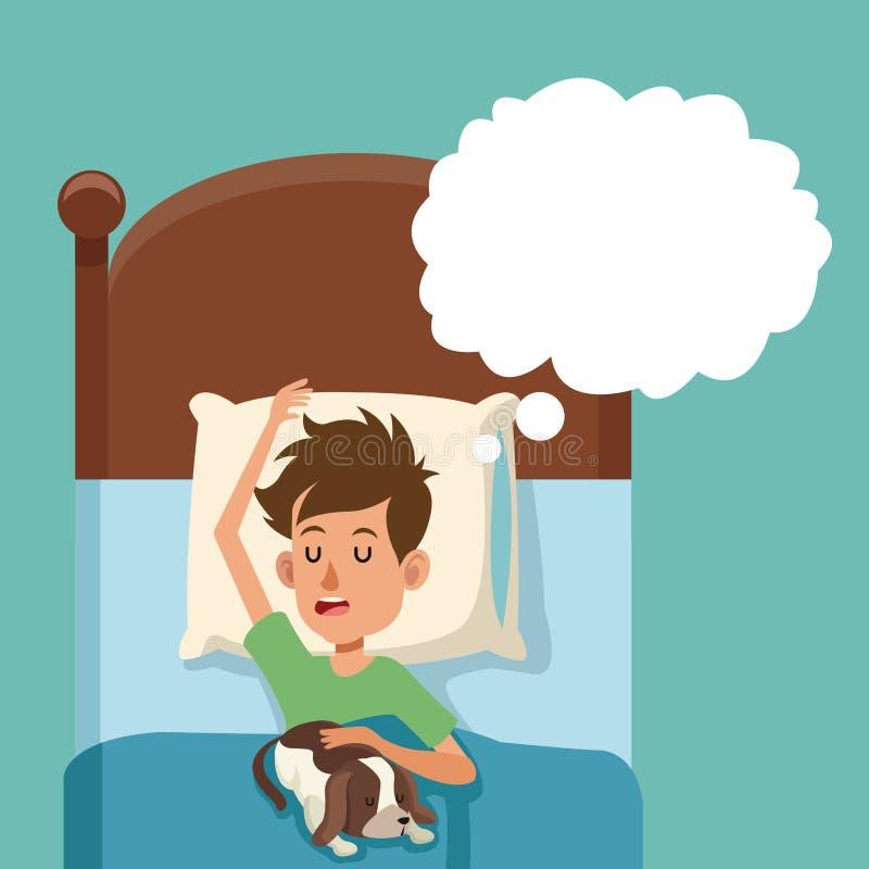 男孩与狗的睡眠梦想在床上 皇族释放例证