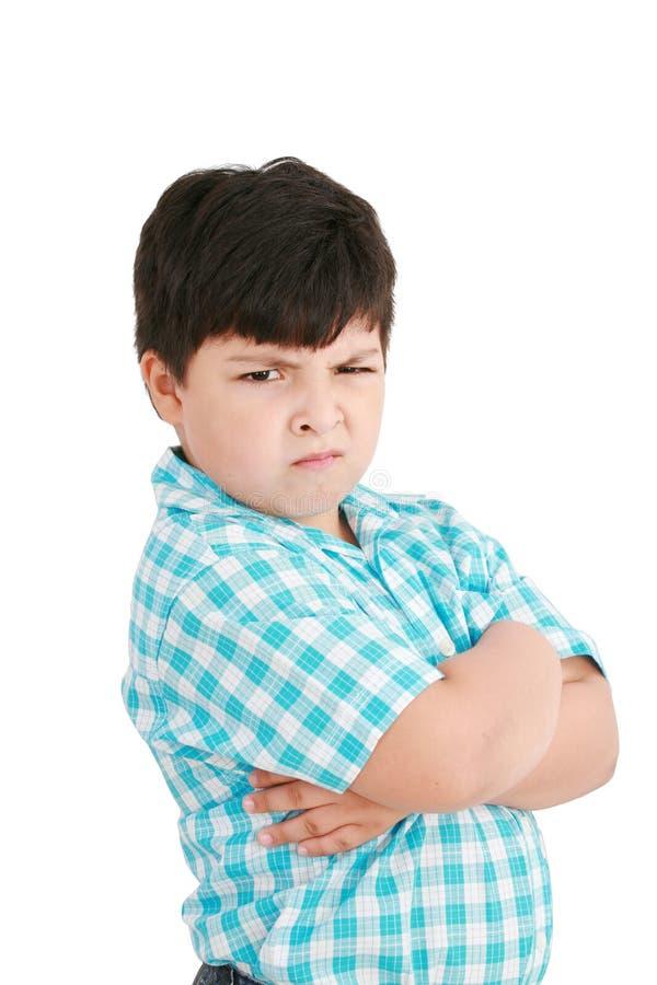 男孩严重的一点 免版税库存图片