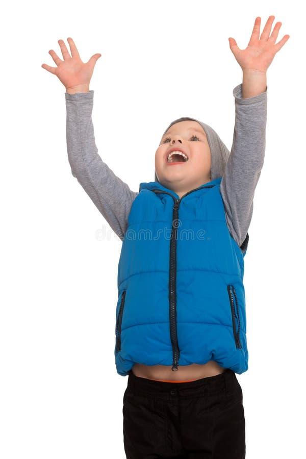 男孩举了他的手  库存照片