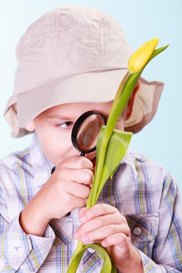 年轻男孩举行花和放大镜 免版税库存照片