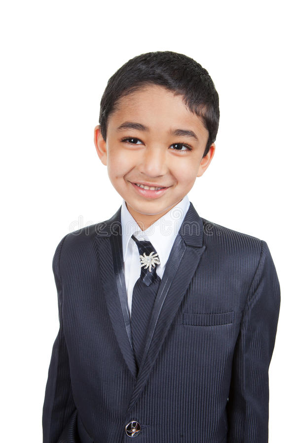 男孩企业英俊的小的诉讼 免版税图库摄影