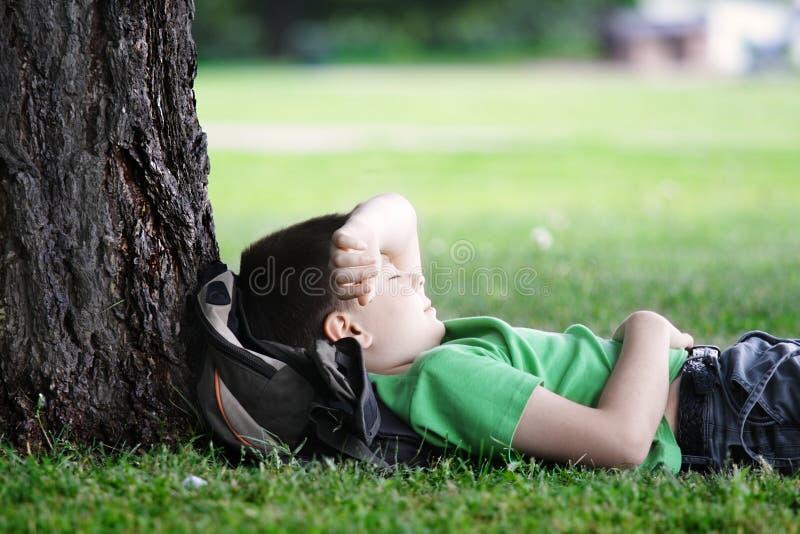 男孩休眠结构树下 免版税图库摄影