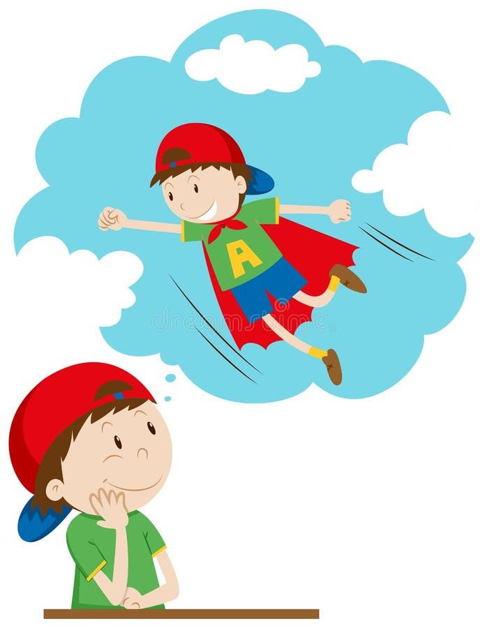 男孩作白日梦是超级英雄 皇族释放例证