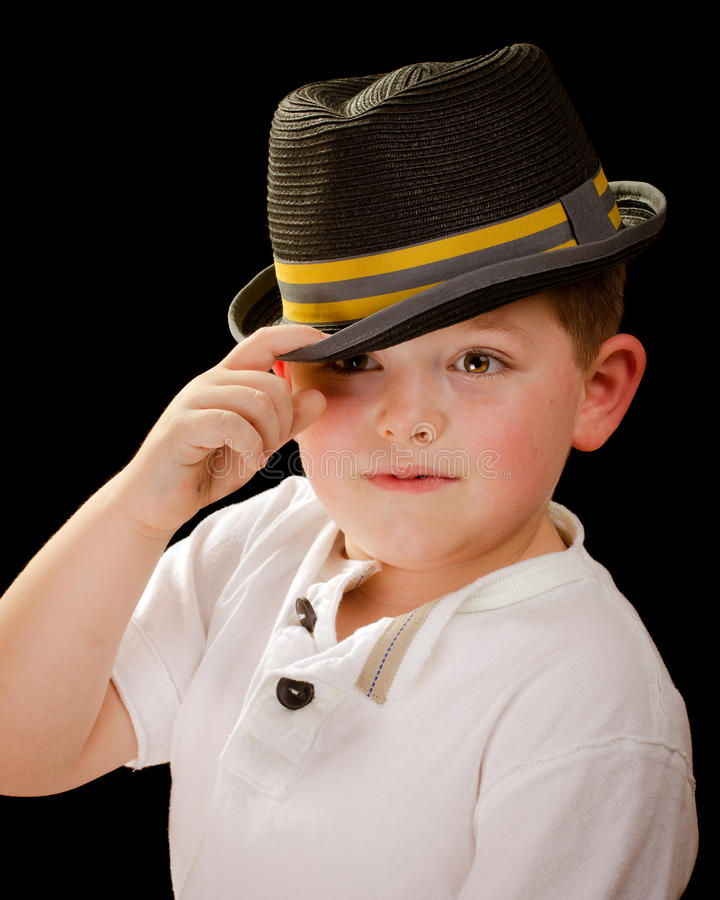 男孩佩带的浅顶软呢帽画象  库存图片