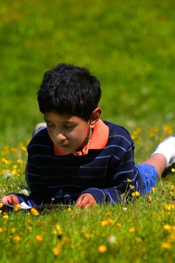 男孩信息读取学校 库存照片