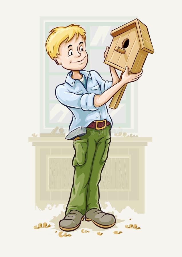 男孩做一椋鸟-house 向量例证