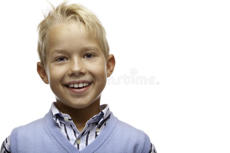 男孩儿童愉快纵向微笑 免版税图库摄影